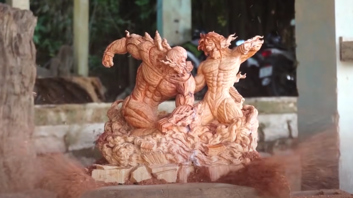Incredible wooden statues of Dragon Ball, Gundam, Attack on Titan and more