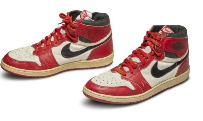 A signed pair of game-worn Air Jordan 1s sold for a record-breaking $ 560,000
