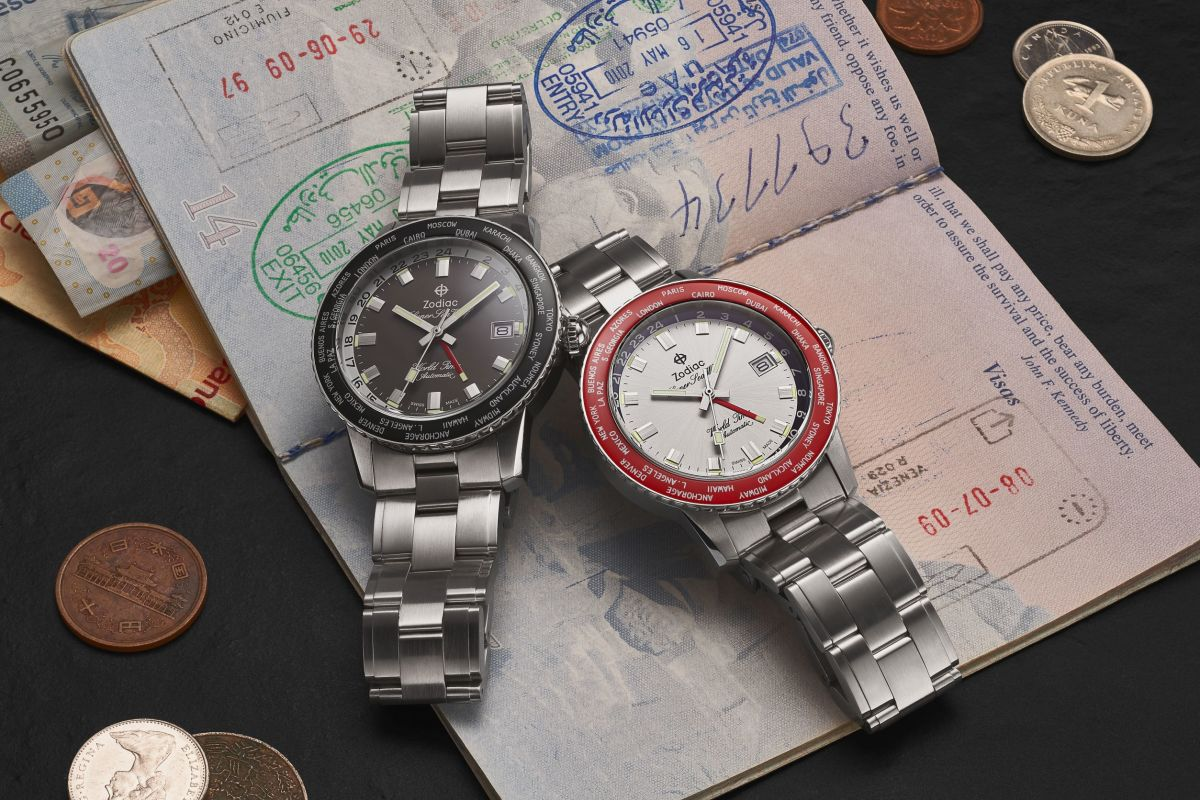 Zodiac's Super Sea Wolf World Time Watch is designed for global travelers